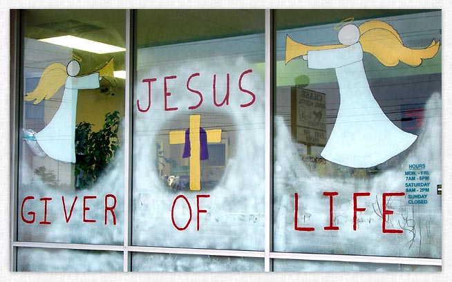 Christmas window painting.