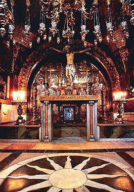 Crucifixion Altar in the Basilica of the Holy Sepulchre - Jerusalem