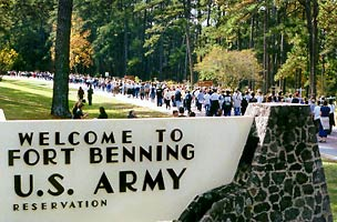 Solemn funeral procession onto Fort Benning.